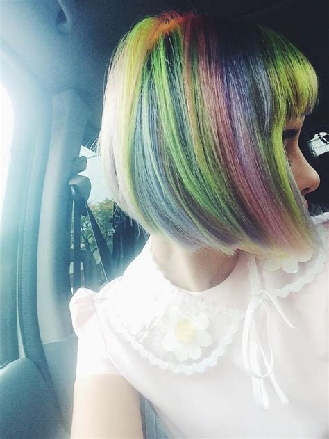 Rainbow Bangs Short Pastel Hair Hair Pinterest Her