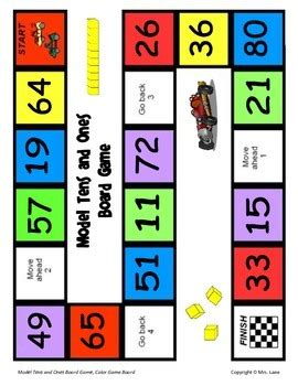 Tens is closely related to the solitaire card game block ten. Model Tens and Ones Board Game by Mrs. Lane   Teachers Pay ...