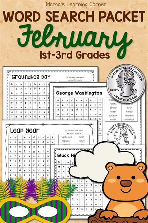 february word search packet mamas learning corner