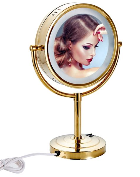 gold lighted makeup mirror tabletop double sided led lighted makeup mirror with 10x