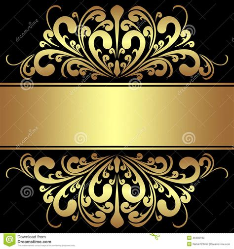 background with royal golden borders and ribbon stock vector illustration of