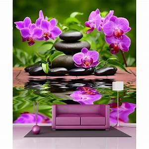 Papier Peint Geant : papier peint g ant orchid e et galets 250x250cm art d co ~ Premium-room.com Idées de Décoration
