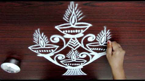 easy deepam rangoli designs || simple diya kolam designs