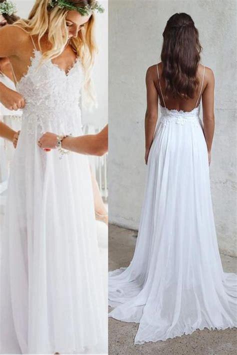 Open Back White Lace Spaghetti Straps Beach Wedding Dress