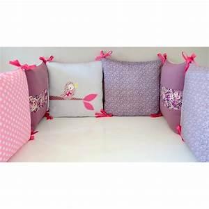 tour de lit style fleurs liberty et pois theme oiseaux With chambre bébé design avec fleurs artificielles france