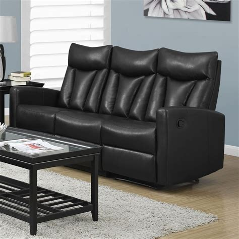 Faux Leather Recliner Sofa by Monarch Specialties Modern Black Faux Leather Reclining