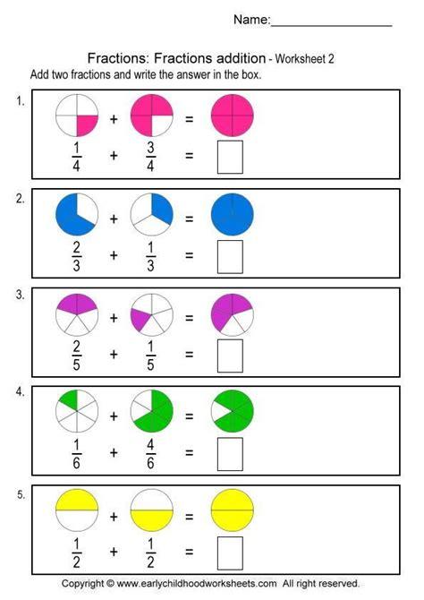 fractions addition worksheet 2 fractions
