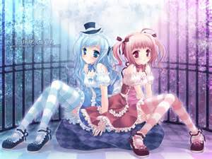 Pink and Blue Anime Girl Twins
