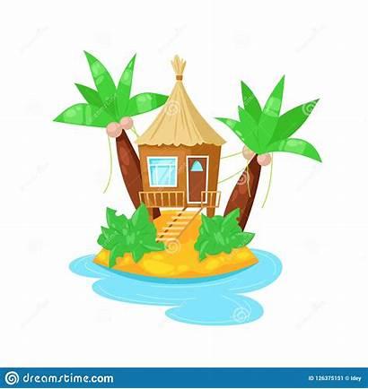 Island Tropical Hut Bungalow Palm Trees Ocean