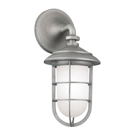shop portfolio 14 5 in h brushed pewter outdoor wall light