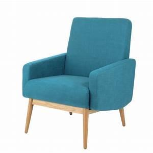 Fauteuil Suspendu Maison Du Monde : fauteuil vintage en tissu bleu p trole kelton maisons du ~ Premium-room.com Idées de Décoration