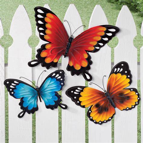 metal butterflies wall set of 3 fence decor flower
