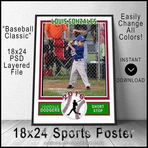2020 miniature baseball card photoshop template for printing   etsy. Baseball Card Size Template Luxury 2017 Baseball Poster Template for Shop 18x24 Size Create ...