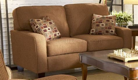 tan chenille contemporary sofa wcherry wooden legs