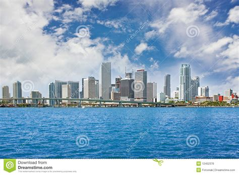 Colorful Panorama Of Miami Downtown Buildings Royalty Free
