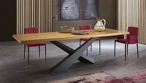 Pied De Table En Acier : table pied acier plateau bois vs29 montrealeast ~ Teatrodelosmanantiales.com Idées de Décoration