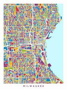 Milwaukee Wisconsin City Map Digital Art by Michael Tompsett