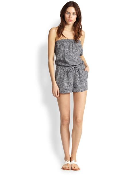 Joie Jaliano Feather-Printed Strapless Short Jumpsuit in