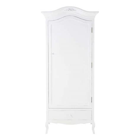 White Wooden Wardrobe by Wooden Wardrobe In White W 90cm Maisons Du Monde