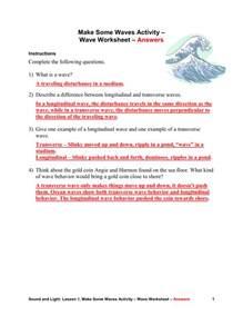 Transverse and Longitudinal Waves Worksheet