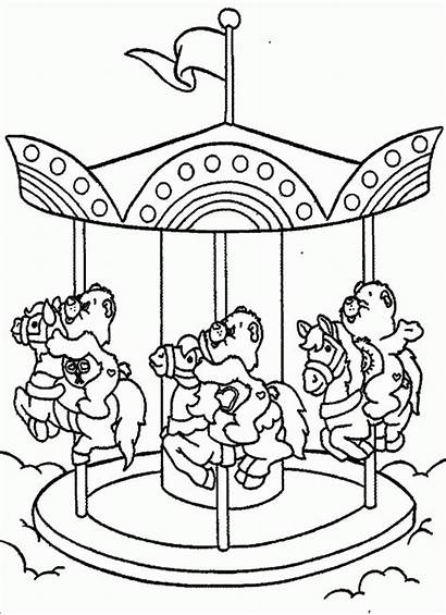 Coloring Pages Merry Round Care Carousel Bears