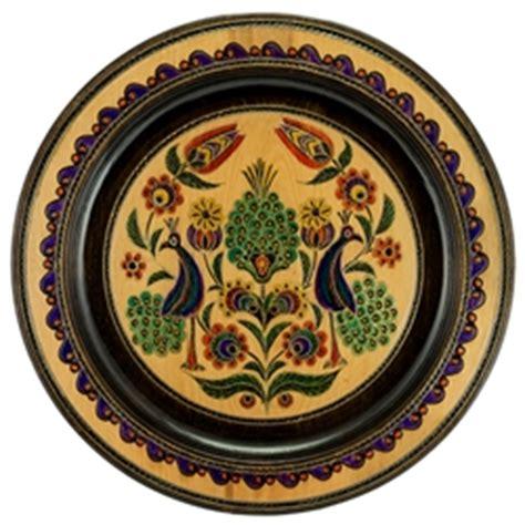 polish art center polish beech wood plate peacocks  cm