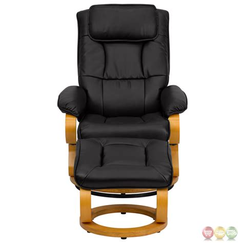 Contemporary Leather Recliner And Ottoman by Contemporary Black Leather Recliner And Ottoman With