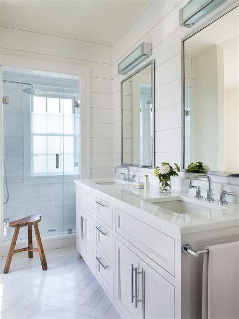 White Shiplap Bathroom by White Shiplap Bathroom With White Herringbone Floor Tiles
