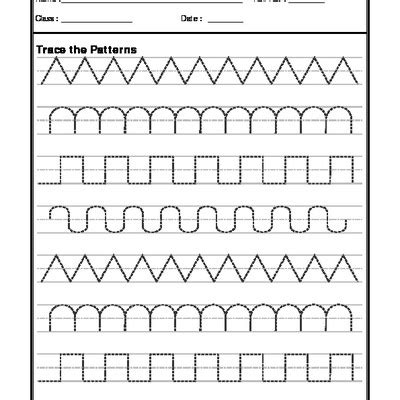 a2zworksheets worksheets of pattern writing