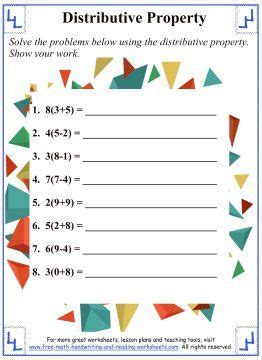 distributive property worksheet 3 addition properties