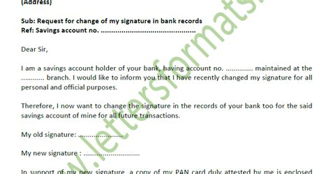 application letter  change  signature  bank account