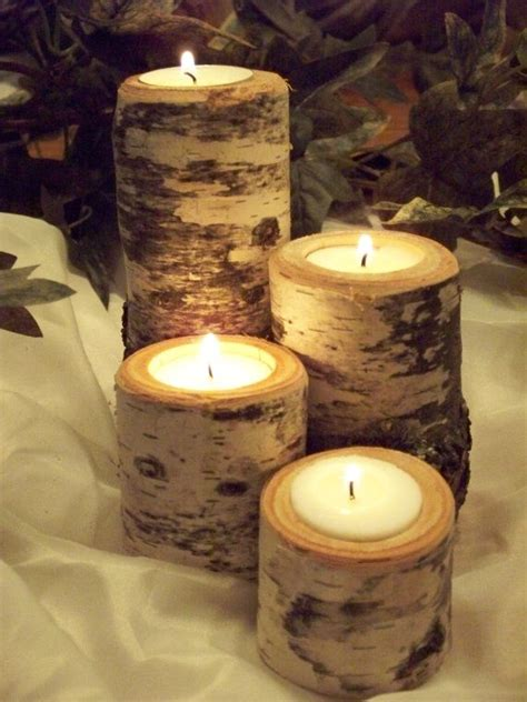 rustic candle holder set of 4 wedding decor birch