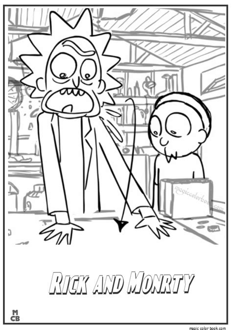 pin  magic color book  rick  morty coloring pages