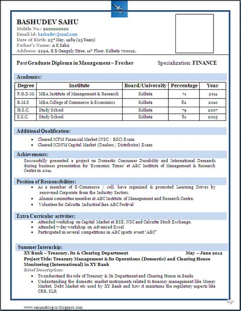 best resume format for freshers resume sle resume
