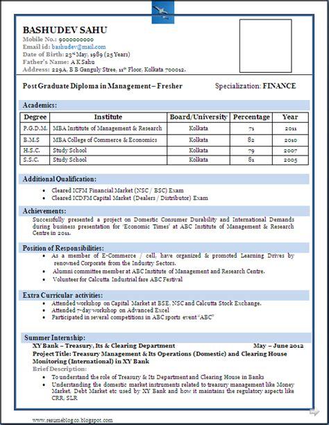 Resume Sles For Freshers by Best Resume Format For Freshers Resume Sle Resume