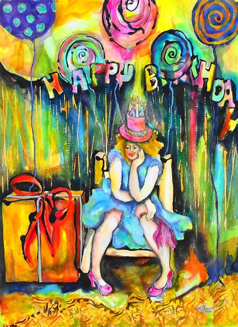 floating candles birthday painting by sallenger martin