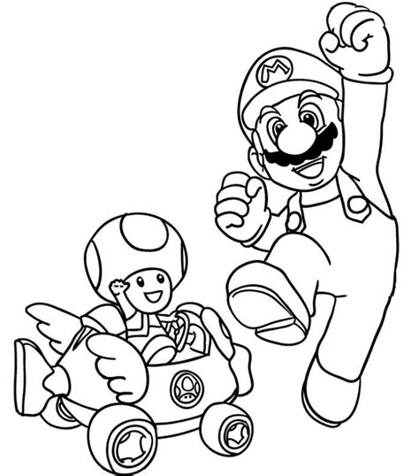 mario kart toad coloring page coloring home