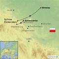 Schweidnitz Schlesien von ostreisen - Landkarte für Polen