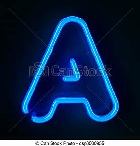Neon sign letter a Highly detailed neon sign with the