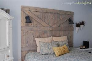 old barn door headboard white shade table lamp brown With barn door style headboard