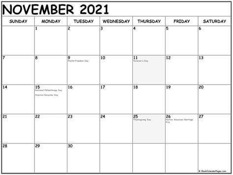november  calendar  holidays