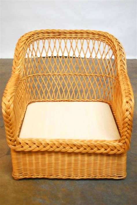 italian braided wicker rattan lounge chairs and ottoman at