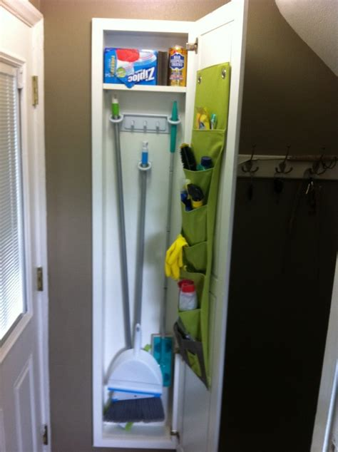 recessed wall cabinet between studs recessed broom closet for the home pinterest ideas