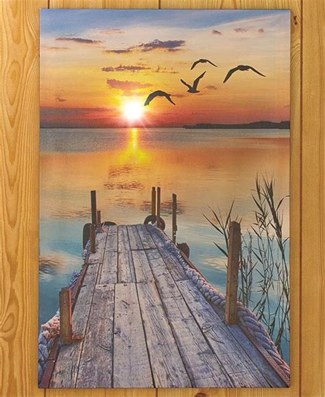 lighted scenic canvas lighthouse pier wall