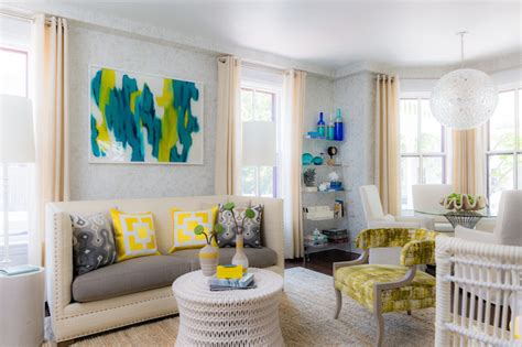 Turquoise And White Living Room : Yellow And Turquoise Abstract Art