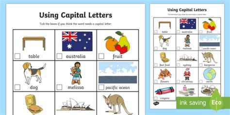 using capital letters worksheet activity sheet capital