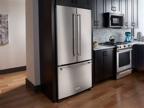 cabinet depth refrigerator width krfc302ess kitchenaid 22 cu ft 36 inch width counter