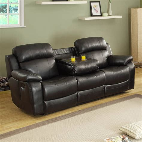 marille black wood microfiber double reclining sofa wcup