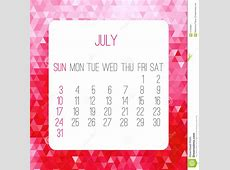 July 2016 monthly calendar stock vector Image of calender
