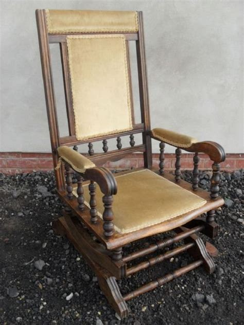 19th century beechwood american rocking chair with gold